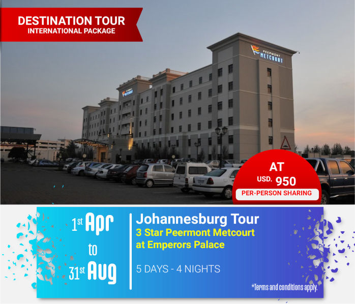 Johannesburg South Africa Holiday at 3-Star Peermont Metcourt at Emperors Palace